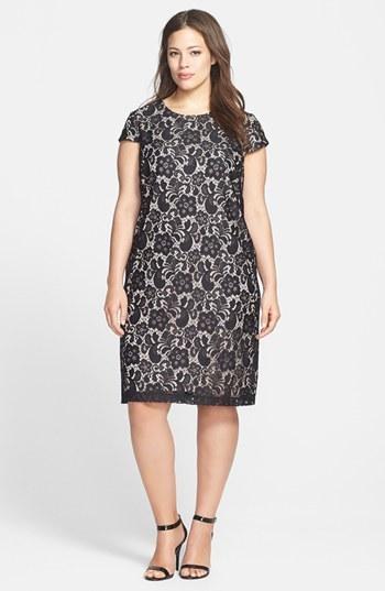 Ivy & Blu Lace Shift Dress (Plus Size)