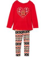 Red Heart Sweater & Leggings - Girls