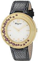 Salvatore Ferragamo Women's FF5930015 Gancino Sparkling Analog Display Quartz Black Watch