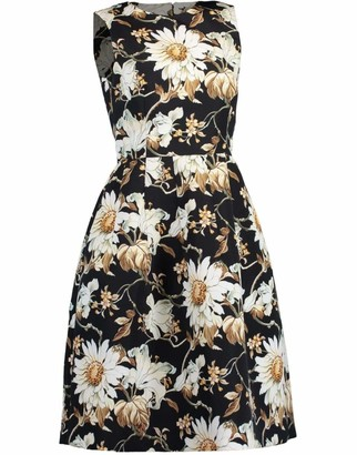 Oscar de la Renta Sleeveless Full Skirt Print Midi Dress