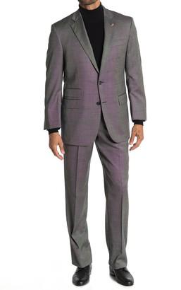 Brooks Brothers Saxxon Black Sharkskin Two Button Notch Lapel Madison Fit Wool Suit