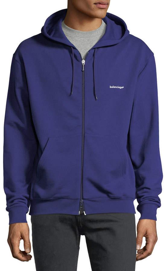 Balenciaga Logo Zip-Front Hoodie Sweatshirt