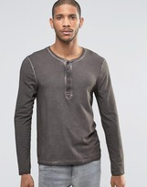 Asos Muscle Long Sleeve T-Shirt With Grandad Neck And Pigment Wash