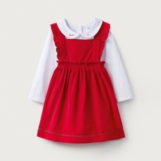 The White Company Cord Pinny & Bodysuit Set, Red, 12-18mths