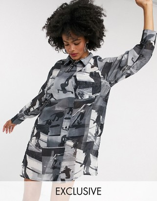 Collusion skateboard photographic shirt dress