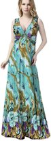 Yacun Women's Sexy Floral Print Bohenmian Maxi Beach Summer Dress