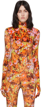 Richard Quinn Orange Floral Turtleneck
