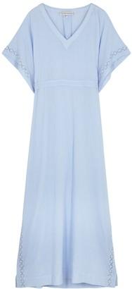 Heidi Klein Andalucia Blue Lace-trimmed Cotton Kaftan