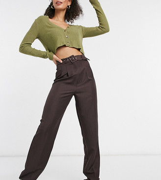 Asos Tall ASOS DESIGN Tall belted slouchy dad pants in brown