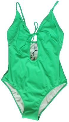 Solid & Striped Green Lycra Swimwear for Women