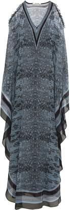 Roberto Cavalli Cold-shoulder Embellished Snake-print Silk-georgette Maxi Dress