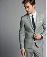 Express extra slim gray textured windowpane wool blend suit jacket