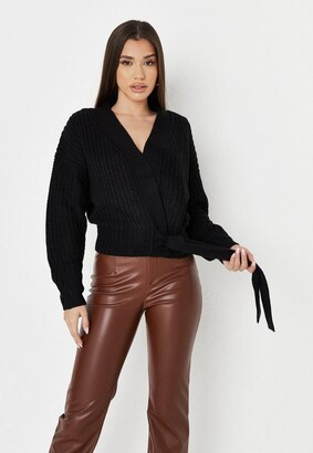 Missguided Black Belted Knit Cardigan