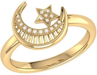 Lmj Starkissed Crescent Ring In 14 Kt Yellow Gold Vermeil On Sterling Silver