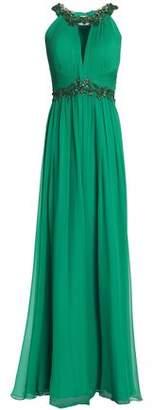 Marchesa Embellished Cutout Pleated Silk-chiffon Gown