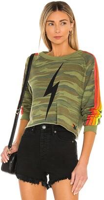 Aviator Nation Bolt Print Cropped Sweatshirt
