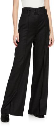Theory High-Waist Sleek Flannel Belted Pants