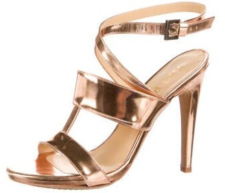Aperlaï Patent Leather Sandals Gold