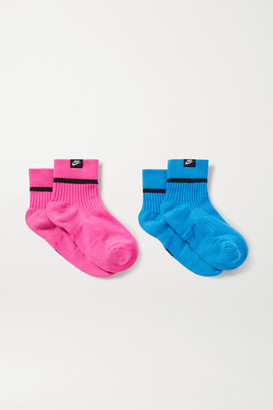 Nike Snkr Set Of Two Ribbed Stretch-knit Socks - Blue