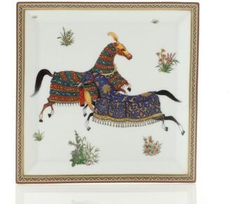 Hermes Cheval d'Orient Square Plate No.4 Printed Porcelain