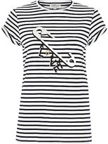 River Island Womens Navy stripe love safety pin print t-shirt