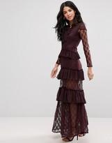 Glamorous High Neck Ruffle Maxi Dress