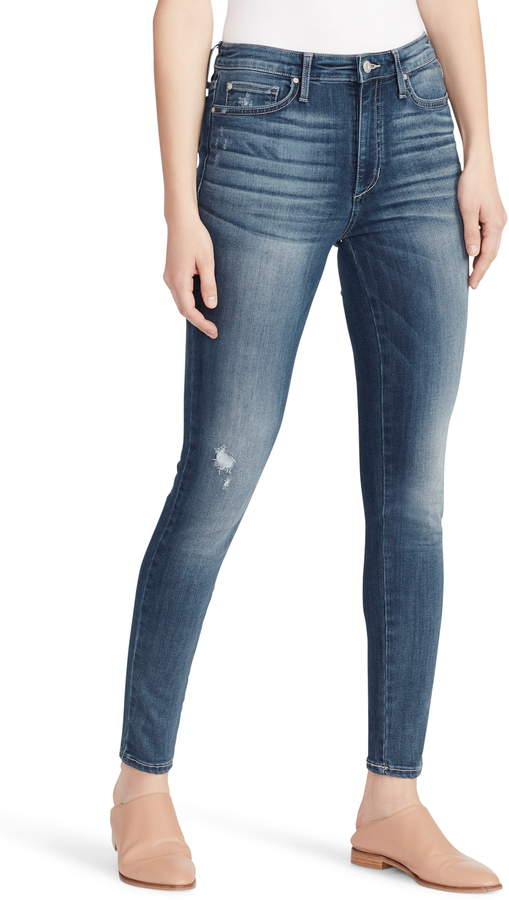 Ella Moss Distressed High Waist Skinny Jeans