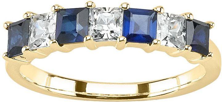 14k Gold Sapphire & 1/2-Ct. T.w. Princess-Cut Diamond Ring