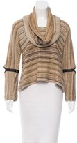 Yigal Azrouel Leather-Accented Long Sleeve Sweater