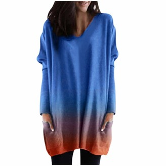 YEBIRAL Sweater Dress for Women Pullover Sweatshirt Plus Size Loose V Neck Gradient Pocket Long Sleeve Blouse Tops Gray