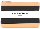 Balenciaga Navy Clip Small leather-trimmed printed clutch