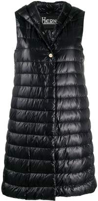Herno hooded quilted mid-length gilet