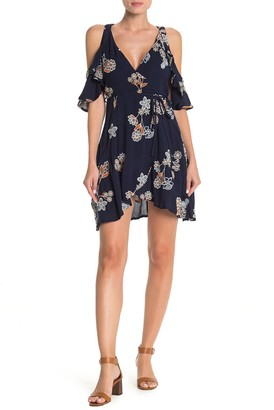 J.o.a. Cold Shoulder Floral Print High/Low Dress