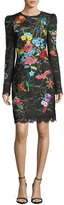 Monique Lhuillier Floral-Embroidered Long-Sleeve Lace Cocktail Dress