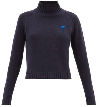 The Elder Statesman Highland Cropped Cashmere Sweater - Womens - Blue