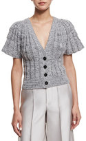 Co Flare-Sleeve Button-Front Short Cardigan, Silver