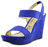 American Rag Audriault Women Open Toe Suede Blue Wedge Sandal.