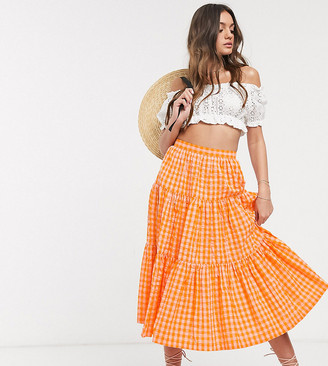 ASOS DESIGN Petite tiered gingham midi skirt in orange