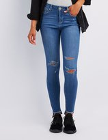 Charlotte Russe Destroyed Step-Hem Skinny Jeans
