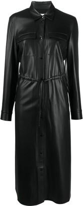 HUGO BOSS Faux Leather Shirt Dress