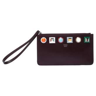 Fendi Burgundy Leather Clutch bags