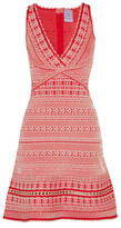 Herve Leger Stretch Jacquard-knit Mini Dress - Red