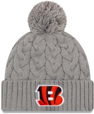 New Era Women's Gray Cincinnati Bengals Swift Cable Cuffed Knit Hat with Pom