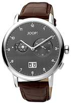 JOOP! Joop Cirular Alarm Men's Quartz Watch with Grey Dial Analogue Display and Brown Leather Strap JP100071002