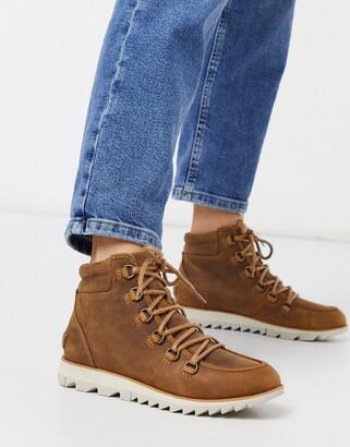 Sorel waterproof harlow lace up boots in tan