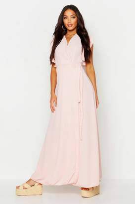 boohoo Woven Frill Sleeve Wrap Maxi Dress