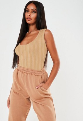Missguided Petite Camel Extreme Rib Scoop Knit Bodysuit