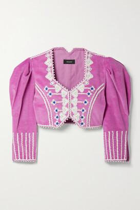 Isabel Marant - Cidela Cropped Embellished Embroidered Velvet Jacket - Purple