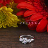 Etsy 1.50 CT Three Stone Halo Round Engagement Ring 14k or 18K SOLID White Gold Bridal Band , Triple Ston