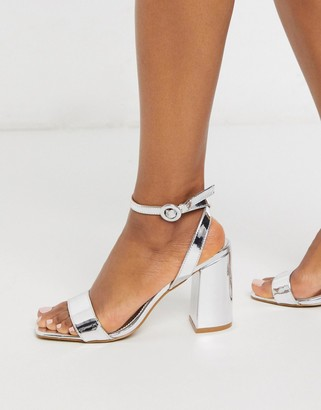 Be Mine Bridal Wink barely there heeled sandals in silver